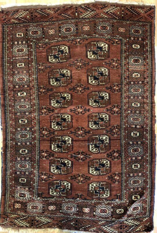 Tremendous Turkmen - 1920s Tekke Gul Bokhara Rug - Tribal Carpet - 3.7 X 5.4 Ft
