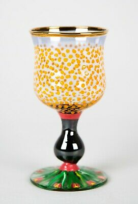 MacKenzie Childs Piccadilly Circus Wine Goblet Glass Vintage Hand Painted c.1991