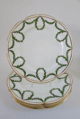 "Antique Mintons Green Laurel Garland Bone China Scalloped Plates 9.5"" Set 4"