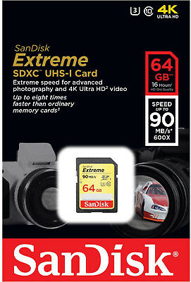 SanDisk Extreme 64GB SDXC 90 MB/S 600x UHS-1 SD Class 10 Memory Card U3 Camera