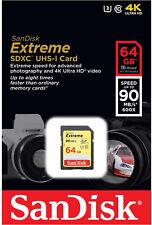 SanDisk Extreme 64GB SDXC 90 MB/S 600x UHS-1 SD Class 10 Memory Card U3 Camera