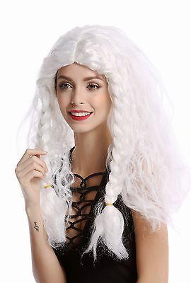 Perücke Damen Herren lang weiß geflochtene Zöpfe Eisprinzessin - Lange Geflochtene Perücke Prinzessin