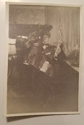1930s Photo - Man In Costume as Soldier on Horse at COSTUME PARTY - - Horses In Halloween Costumes
