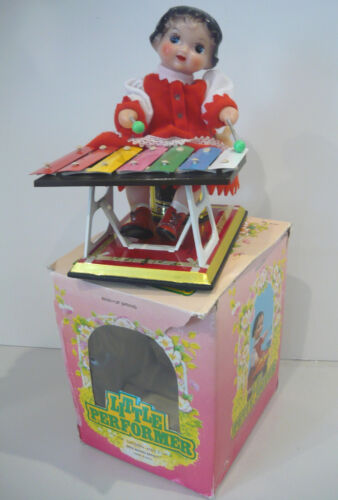 The Little Performer Xylophone Girl Working Wind-Up Animated Mechanical Tin Toy