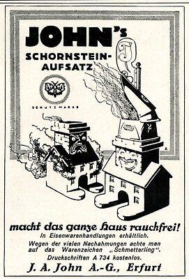 Schornstein Aufsatz John Erfurt Reklame 1926 Kamin Werbung +