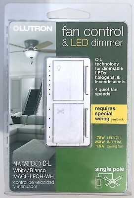 Lutron Incandescent Dimmer (Lutron Maestro Fan Control and Light Dimmer for dimmable LEDs,)