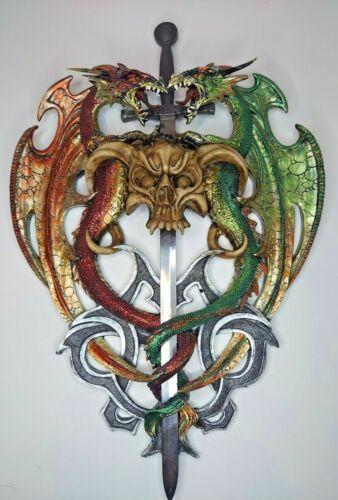 "18"" x 12"" Double Dragon w/ Skull Crest & Mini Sword/Blade Wall Hanger Art"