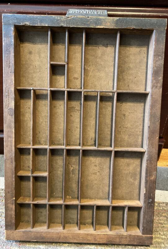 antique PRINTERS TYPE CASE DRAWER Center Section Letterpress OLD HAMILTON Handle