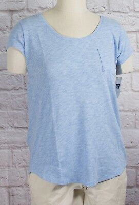 NWT Womens GAP Short Sleeve Easy Scoop Neck Pocket T-Shirt Hanover Blue - 806816