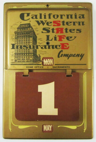 Vintage Advertising Calendar CA Western States Life Insurance AIG Sacramento
