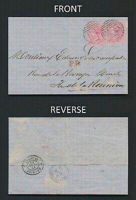 1873 MAURITIUS COVER TO REUNION QV 4d PAIR, P.D & NEAT ST DENIS REUNION CDS
