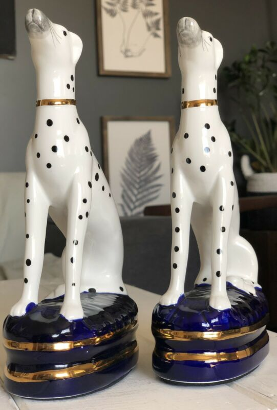 Fitz And Floyd Vintage Staffordshire Style Dalmatian Dog Bookends Set Of Two