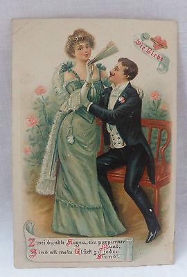 AK  Prägekartemit Spruch  Die Liebe Liebespaar auf Bank gel. 1905