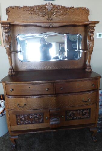 Antique Victorian Sideboard buffet/mirror with lion heads