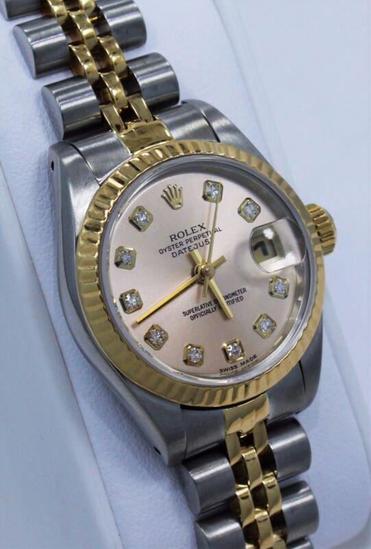Rolex Datejust 69173 Jubilee 18K Yellow Gold & SS Factory Diamond Dial Ladies