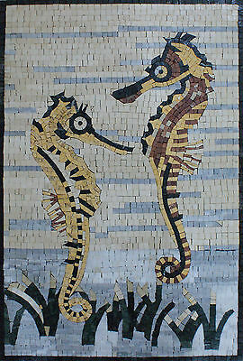 Little Cute Tile (Art Tile Stone Cute Little Sea Horses Marble Mosaic AN909 )