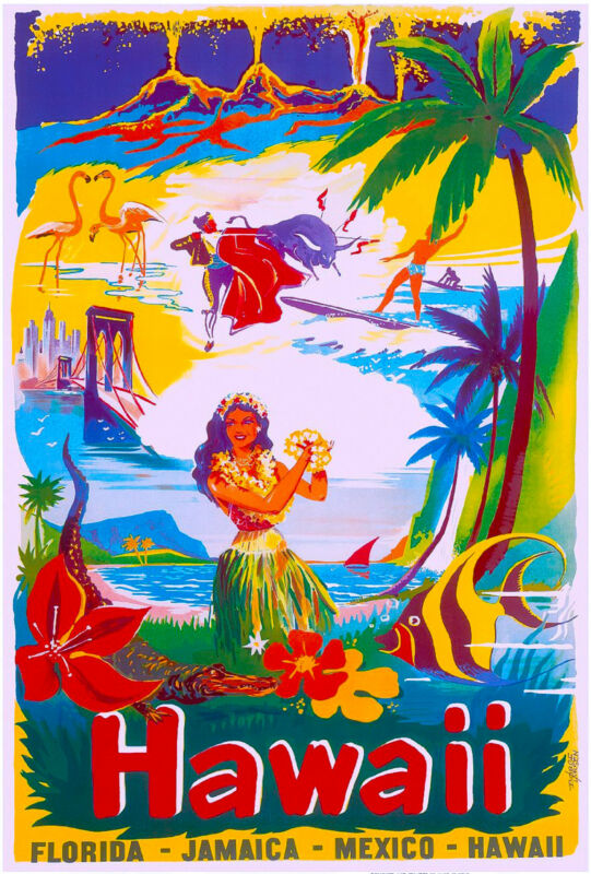 Hawaii Florida Jamaica Mexico United States America Travel Advertisement Poster