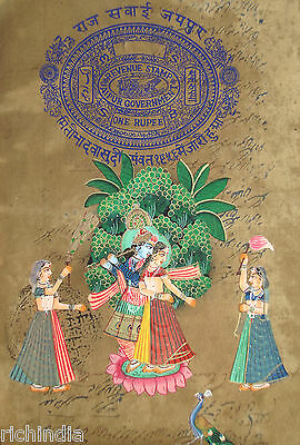 God Krishna Radha  Miniature PAINTING EHS Paper antique  God Love Valentine Day