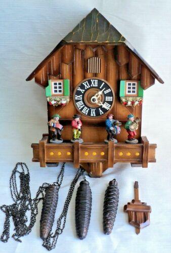 "Vtg 3-Weight Chalet CUCKOO CLOCK -4 MUSICIANS ""Play"" Music + Bird, GONG -Germany"
