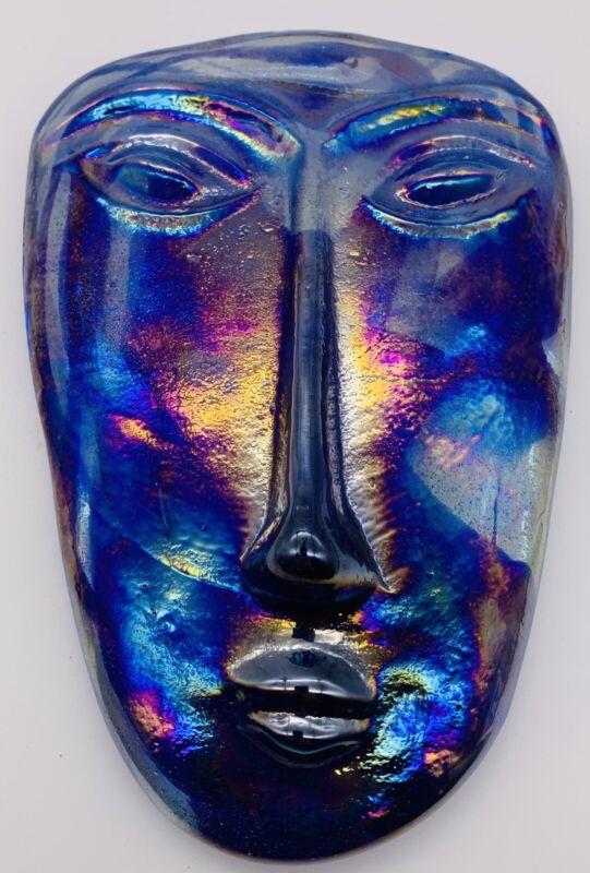 Erik Hoglund VTG Amethyst Kosta Boda Style Blue Iridescent Art Glass Face Mask