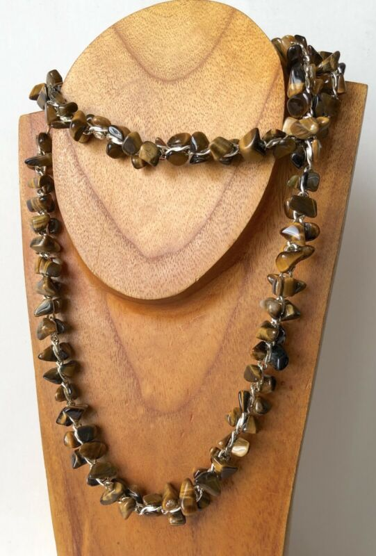 """Genuine Tiger Eye Gemstone Chip Bead Silver Tone Chain Long Necklace 30"""""""