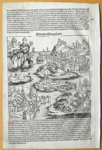 Incunable Leaf Schedel Liber Chronicorum Woodcut Italy and Portugal 1493