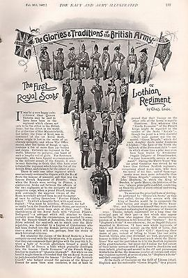 1897 ANTIQUE MILITARY PRINT-GLORIES,TRADITIONS OF BRITISH ARMY,1st ROYAL SCOTS
