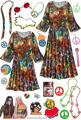 GROOVY PAISLEY PLUS SIZE Hippie DRESS + Halloween Costume Lg XL 0X - 9X