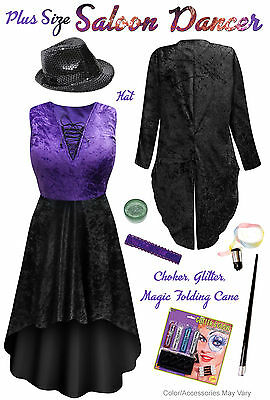 Plus Size Sexy Saloon Burlesque Dancer Black & Purple Halloween Costume 0x to 9x ()