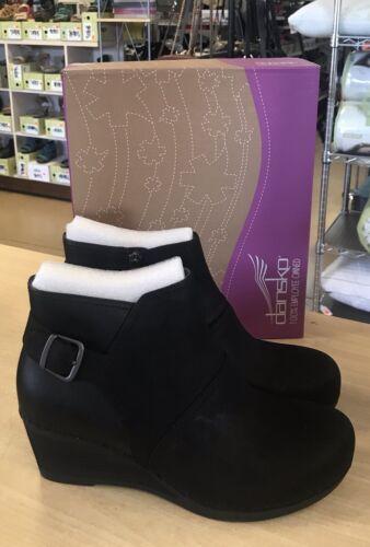 Dansko Shirley Black Nubuck Stacked Wedge Ankle Boots - EU 4