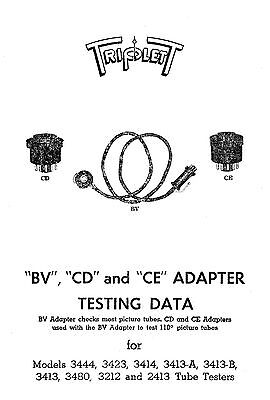Triplett Picture Tube Adapter Bv Cd Ce Tube Data
