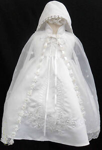 New-Infant-Baby-Girl-Christening-Baptism-Dress-Gown-Size-01234-0-30M-White