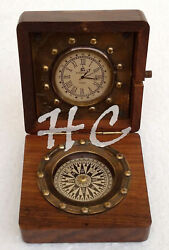 Antique Pocket Watch Compass Marine Nautical Desk Clock Brass Made Table Decor25