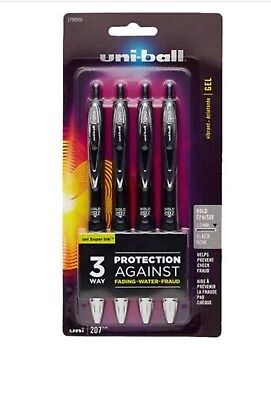 (Uni-Ball Signo 207 Gel Retractable Roller Ball Pen Bold Black Ink 5-Count 1.0mm)