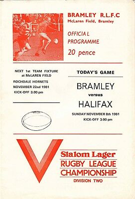 Bramley v Halifax 1981/2 (8 Nov)