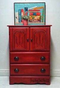 Boho red chest of drawers