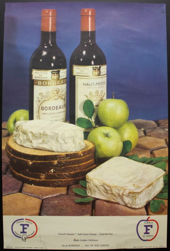 c.1960 French Wine Cheese Advertising Poster Carre de l
