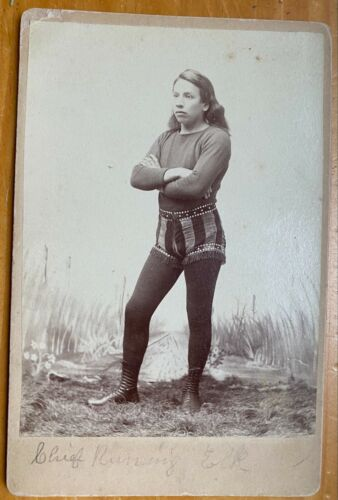 """Photo Native American Indian Signed """"Chief Running Elf """" Cabinet Card ca,1870"""