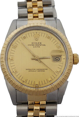 Rolex Oyster Perpetual Date 15053 18k Gold SS Mens Vintage Watch