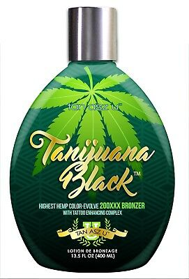 Tanijuana Black Tanning Lotion with 200XXX Bronzer. Fast dark results. 13.5oz