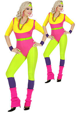 Ladies 80s Costume Fame Sexy Aerobics Fitness Instructor Workout Fancy Dress (80's Fitness Kostüm)