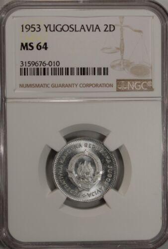 Yugoslavia 2 Dinara 1953 NGC MS 64 UNC Aluminum