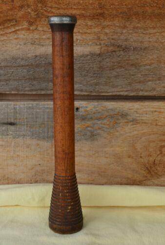 "Antique Primitive 12+"" Wooden & Metal Bobbin Spool Weaving Yarn Thread Patina!"