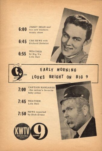 1957 KWTV OKLAHOMA TV GUIDE AD~JIMM DEAN & CAPTAIN KANGAROO ~ Lola Hall Weather