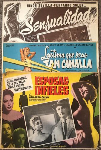 SENSUALIDAD Lastima Tan Canalla ESPOSAS INFIELES Mexico lobby cards 1950s 126631