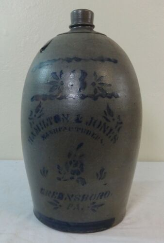 Antique 3 Gal. Stoneware Jug Cobalt Blue Stencil Hamilton Jones Greensboro, Pa.