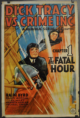 DICK TRACY VS CRIME INC 1941 ORIG 27X41 CHAPTER 1 MOVIE POSTER RALPH BYRD