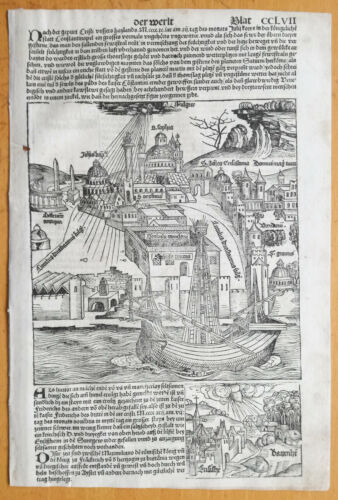 Incunable Leaf Schedel Liber Chronicorum Large Woodcut Constantinople - 1493