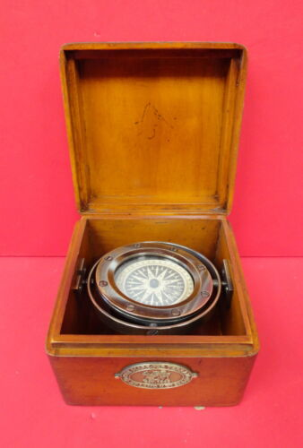 BRONZE LIFEBOAT COMPASS-BOXED AND GIMBALLED