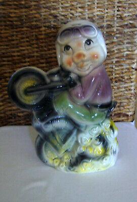 Motorradfahrer mit Brille Keramik Sparschwein Geschenk  (Keramik-sparschwein)